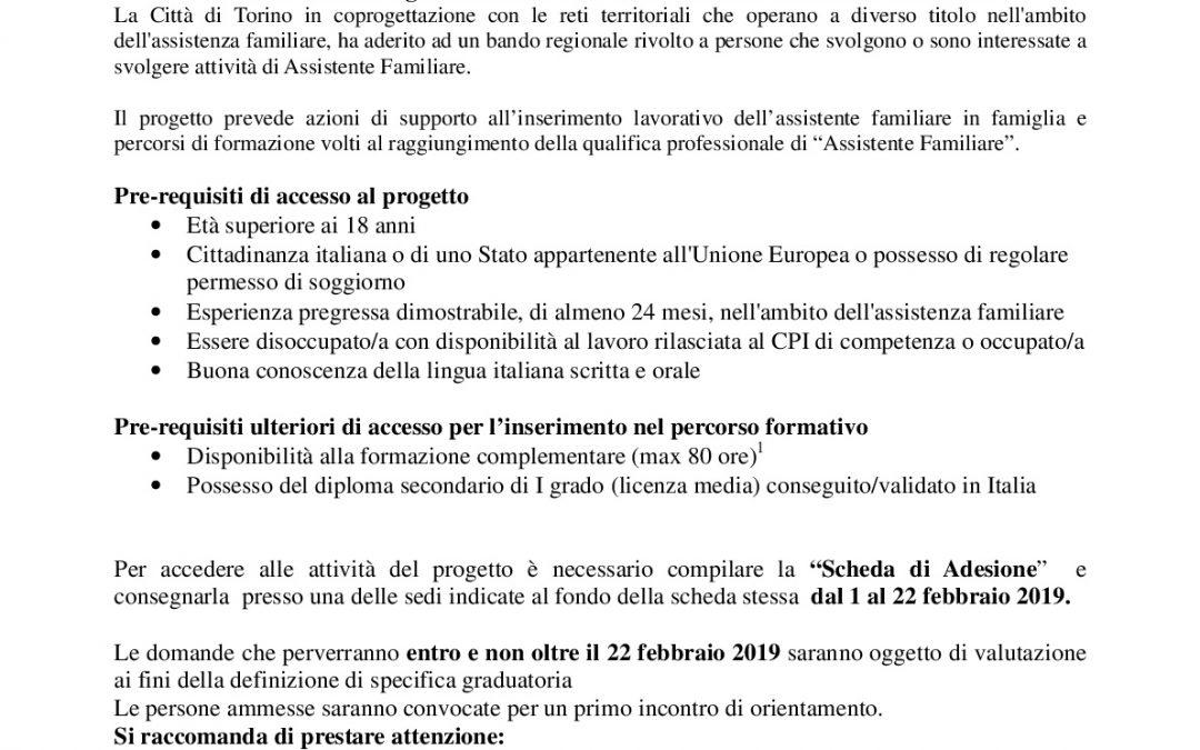 Bando regionale Assistenza Familiare 2019