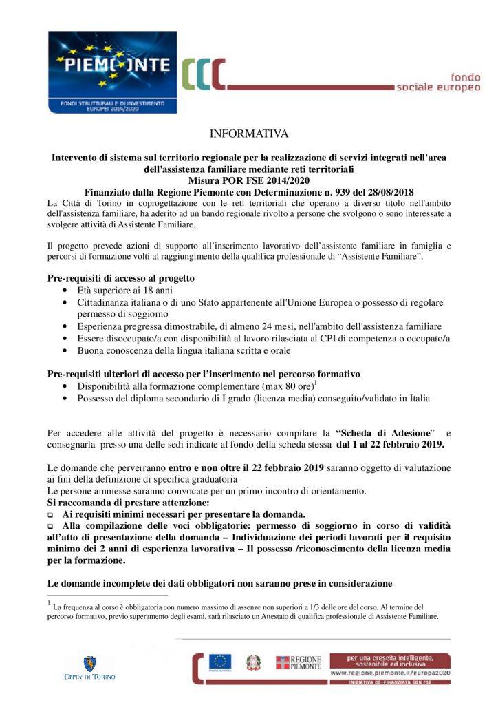 Bando regionale Assistenza Familiare 2019 | ENGIM Torino ...