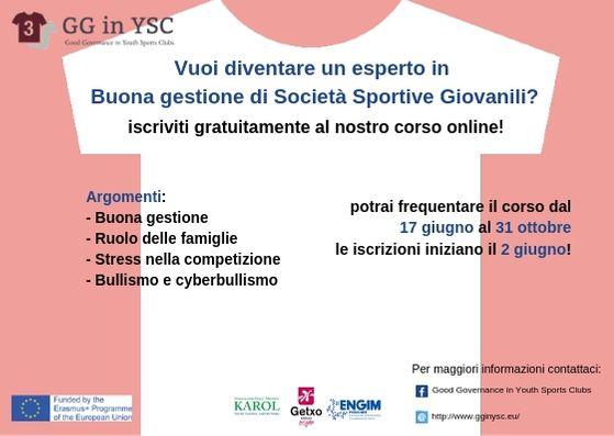 """Corso on-line """"La Buona Gestione nelle partiche sportive giovanili"""""""